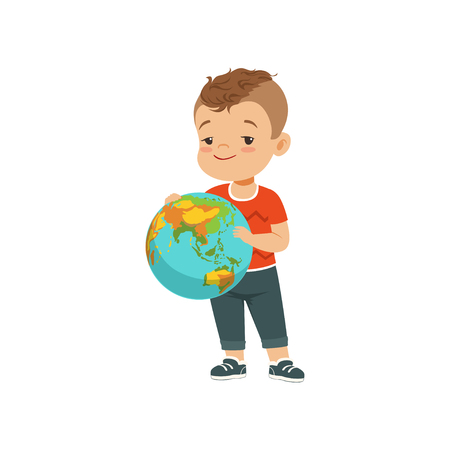 Cute little boy holding globe, kid protecting Earth planet vector Illustration on a white background