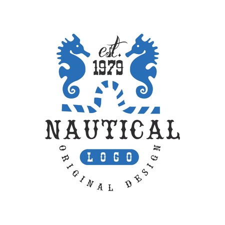 Nautical original design est 1979, retro badge for nautical school, sport club, business identity, print products vector Illustration on a white background