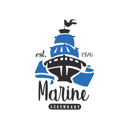Marine legendary est 1976, design element for nautical school, sport club, business identity, print products vector Illustration on a white background
