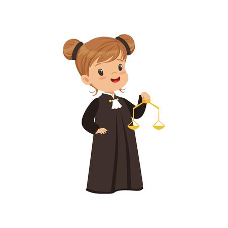 Niedliche Richtermädchenkarikaturfigur, die goldene Skalen der Gerechtigkeitvektorillustration auf einem weißen Hintergrund hält