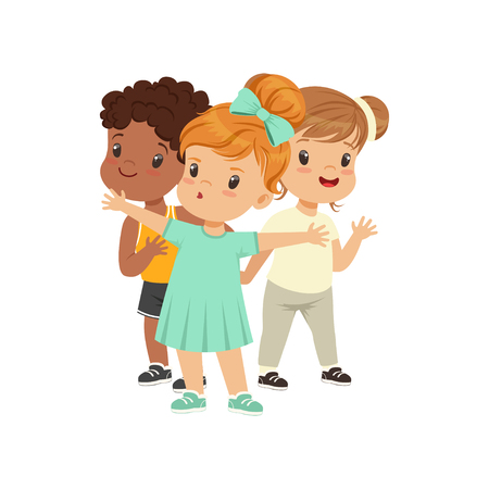 Brave girl defending her friends from someone vector Illustration on a white background Imagens - 103131009