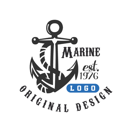 Marine original design est 1976, retro label with anchor for nautical school, sport club, business identity, print products vector Illustration on a white background Illustration
