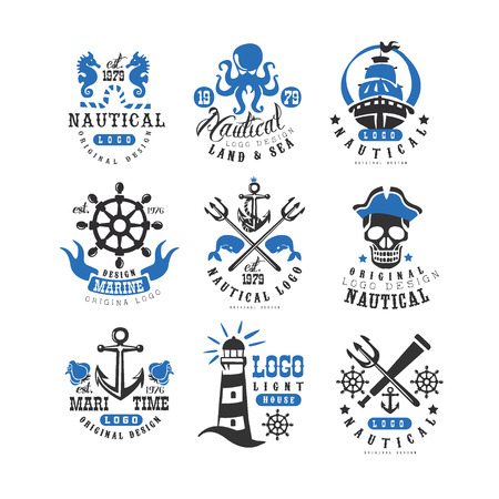 Marine set, design element for nautical school, club, business identity, print products vector Illustration on a white background