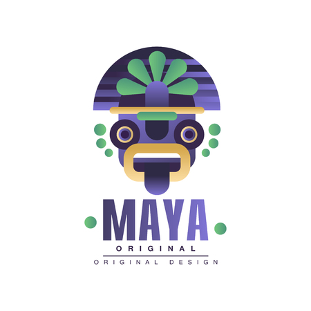 Maya original design, emblem with ethnic mask, Aztec sign vector Illustration on a white background