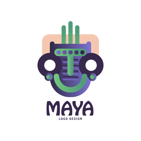 Maya original design, emblem with tribal mask, Aztec sign vector Illustration on a white background