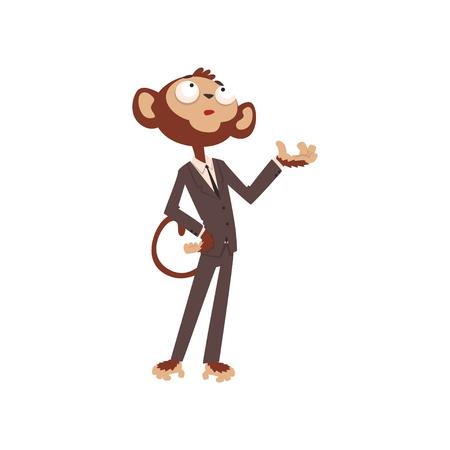 Personaje de dibujos animados de empresario mono, animal divertido vestido con vector de traje humano ilustración sobre un fondo blanco