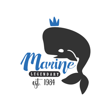 Marine legendary est 1984, design element with whale for nautical school, sport club, business identity, print products vector Illustration on a white background Çizim