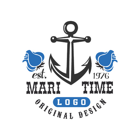 Maritime original design est 1976, retro label with anchor for nautical school, sport club, business identity, print products vector Illustration on a white background Illustration