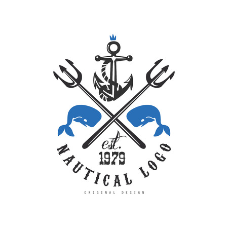 Nautical original design est 1979, retro emblem with marine elements for nautical school, sport club, business identity, print products vector Illustration on a white background Illustration