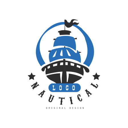 Nautical original design, retro badge with ship for nautical school, sport club, business identity, print products vector Illustration on a white background