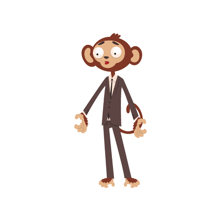 Bewildered monkey businessman cartoon character dressed in human suit vector Illustration on a white background