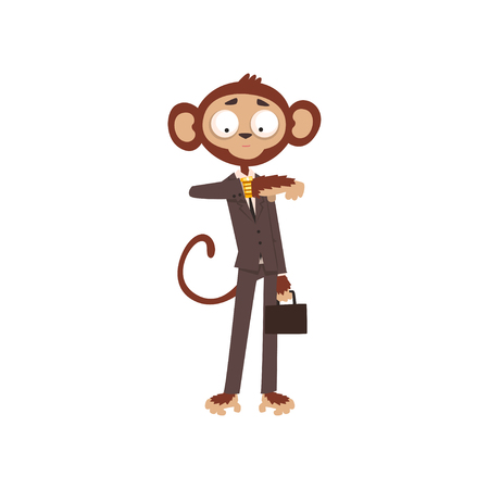 Monkey businessman looking at his wrist watch, funny animal cartoon character dressed in human suit vector Illustration on a white background