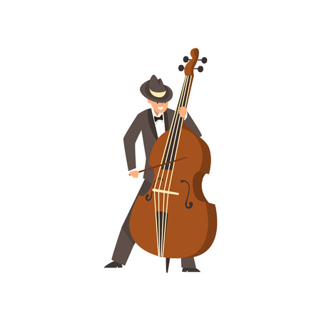Cellist man playing cello, musicain wearing black elegant suit and hat playing classical music vector Illustration on a white background