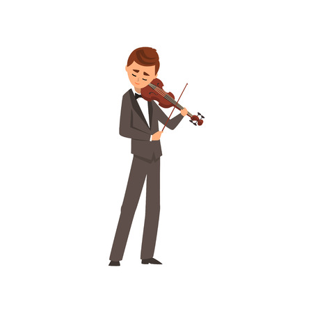 Male musician playing violin, violinist wearing black elegant suit playing classical music vector Illustration on a white background