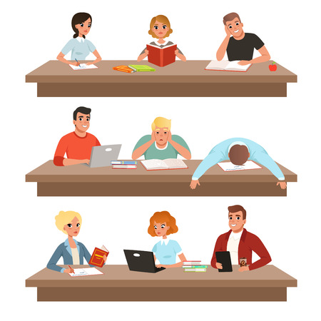 Academic students in learning process set, young people reading books and studying hard before the exam vector Illustrations on a white background Illustration