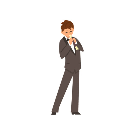 Male musician playing flute, flutist man wearing black elegant suit playing classical music vector Illustration on a white background