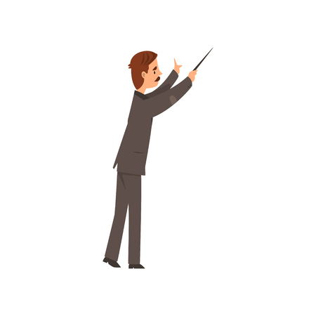 Music orchestra conductor vector Illustration on a white background