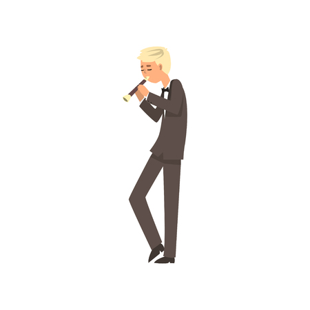 Male musician playing flute, flutist man playing classical music vector Illustration on a white background