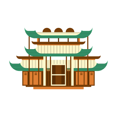 Traditional pagoda building, Asian wooden architectural object vector Illustration on a white background Illustration