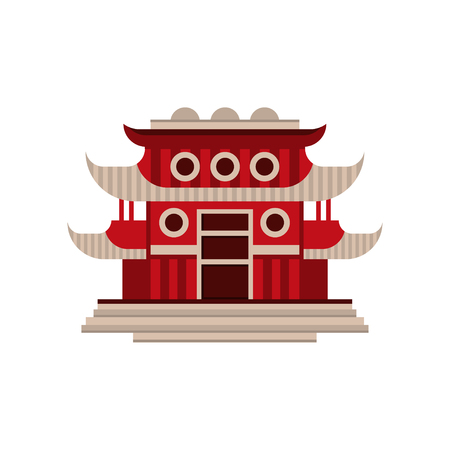 Red pagoda building, traditional Asian architectural object vector Illustration on a white background Illustration
