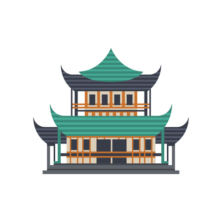 Pagoda building, Asian architectural object vector Illustration on a white background