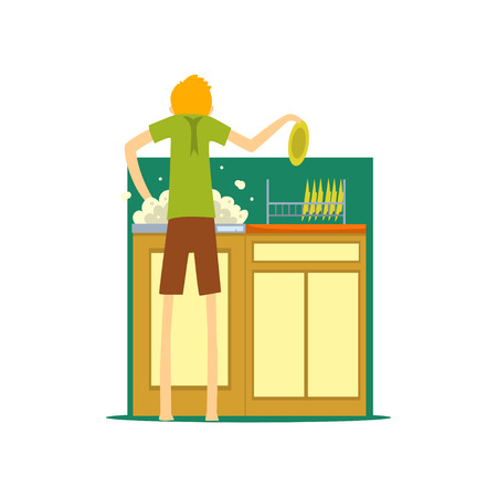 Henpecked man, husband washing the dishes in the kitchen, househusband doing household cartoon vector Illustration on a white background Ilustração