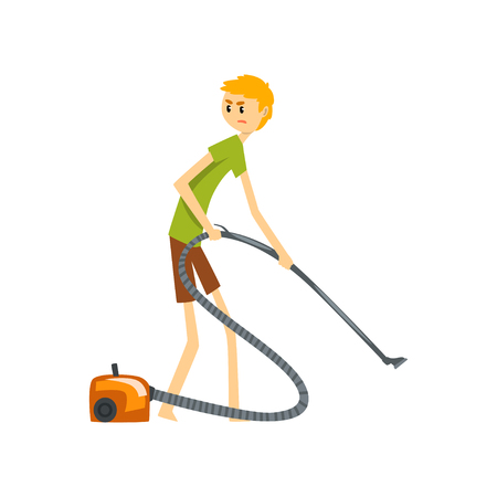 Henpecked man, husband cleaning the floor with vacuum cleaner, househusband doing household cartoon vector Illustration on a white background