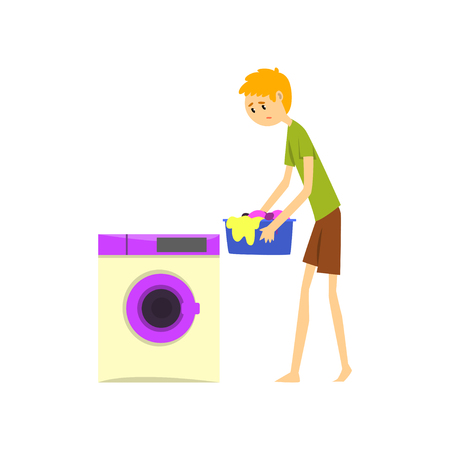 Henpecked man, husband doing laundry, househusband doing household cartoon vector Illustration on a white background