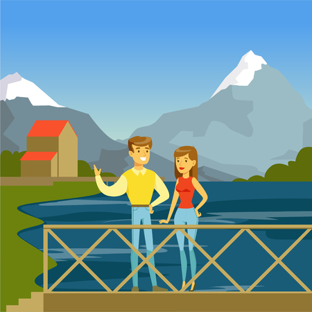 Young man and woman standing on the bridge in the park on a background of mountains, flat vector illustration