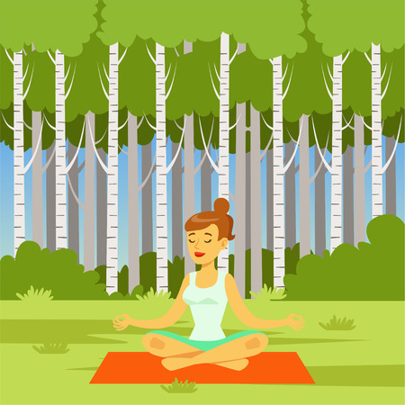 Young woman sitting in lotus position and meditating on a rug on nature background, flat vector illustration