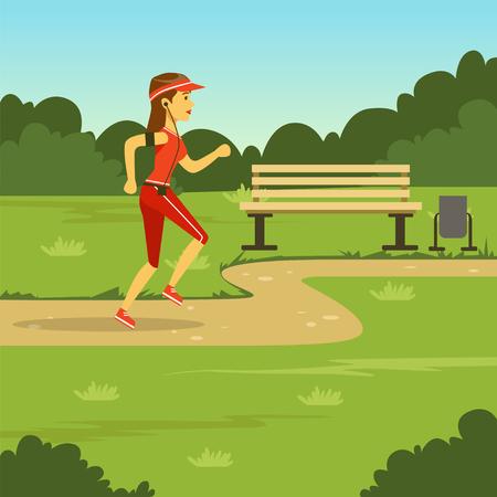 Girl running in summer park, flat vector illustration 版權商用圖片 - 103133810