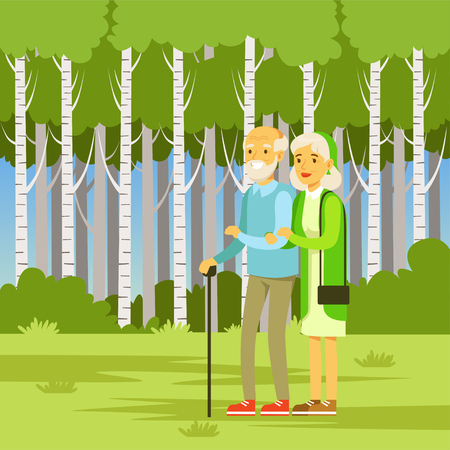 Elderly couple walking in the park, flat vector illustration Banque d'images - 103133811
