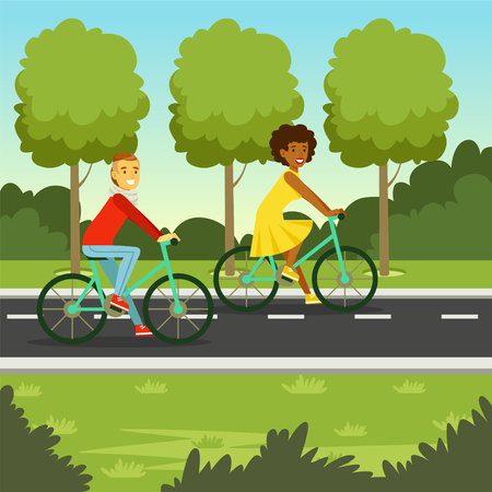 Young man and woman riding bicycle in the park, flat vector illustration
