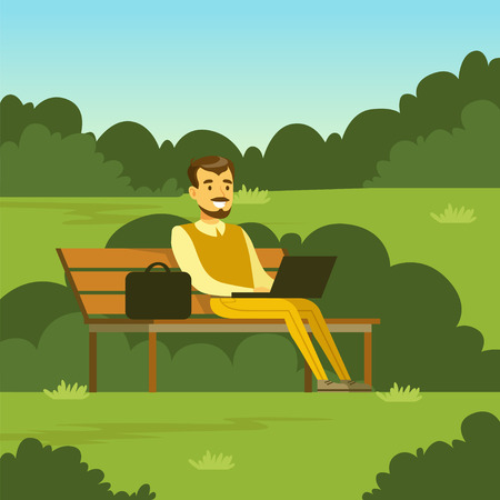 Young man sitting on the bench in the park using laptop computer, flat vector illustration
