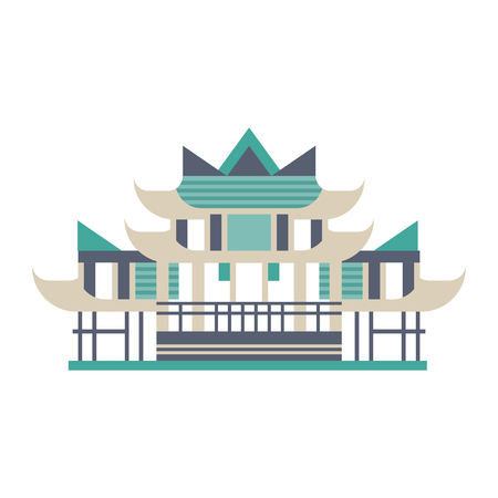 Pagoda, Asian traditional building vector Illustration on a white background
