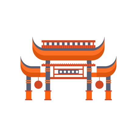 Asian gates, entrance with roof vector Illustration on a white background 向量圖像