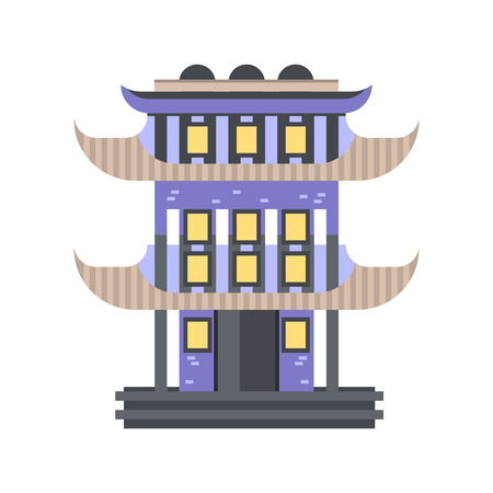 Traditional Asian pagoda building vector Illustration on a white background