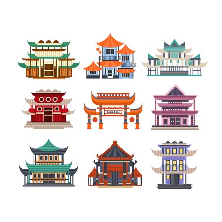 Conjunto de edificios de pagoda tradicional, objetos de arquitectura asiática ilustraciones vectoriales sobre un fondo blanco. Ilustración de vector