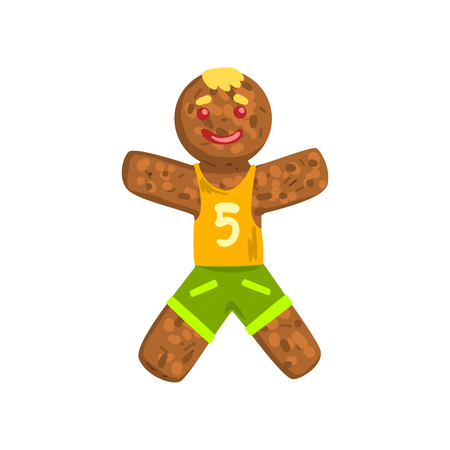 Gingerbread man in costume of soccer player, Christmas character with funny face vector Illustration on a white background Illustration
