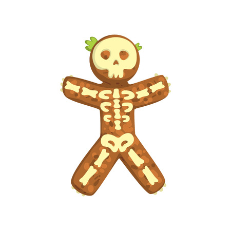 Gingerbread man looks like skeleton, Christmas character with funny face vector Illustration on a white background