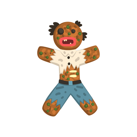 Gingerbread man in costume of zombie, Christmas character vector Illustration on a white background