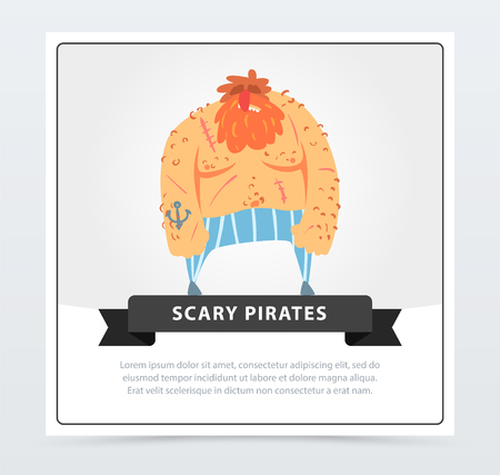 Redhead muscular pirate, bearded filibuster, scary pirates banner, flat vector ilustration
