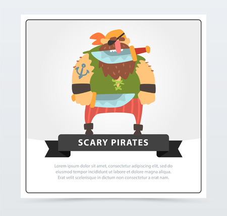 Powerful pirate, bearded filibuster holding dagger with his teeth, scary pirates flat vector ilustration