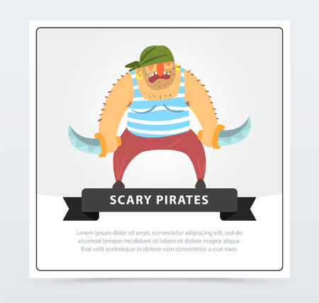 Muscular pirate, bearded filibuster with sabers scary pirates banner, flat vector ilustration