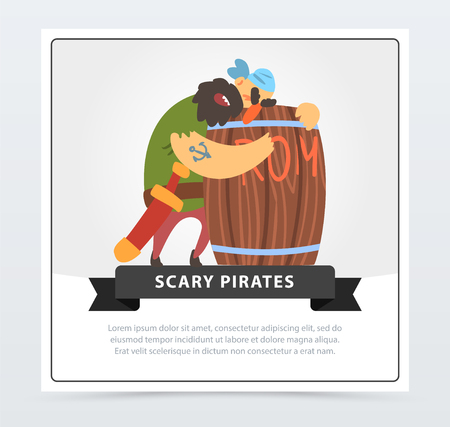 Bearded pirate sleeping on a wooden barrel of rum, scary pirates banner, flat vector ilustration