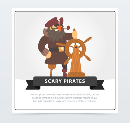 Pirate with eye patch at wheel, scary pirates banner, flat vector ilustration