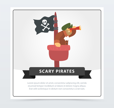 Bearded filibuster sitting on a mast and looking in spyglass, scary pirates banner, flat vector ilustration Illustration
