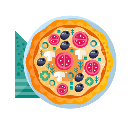 Whole hot delicious vegetarian pizza with tomatoes, mushrooms, olives and green pepper vector Illustration on a white background