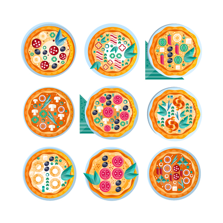 Hot whole pizza set, freshly baked pizza with various ingredients vector Illustration on a white background