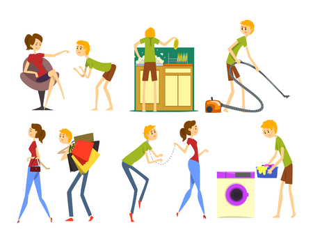 Henpecked man set, husband dominated by wife, househusband doing household cartoon vector Illustrations on a white background